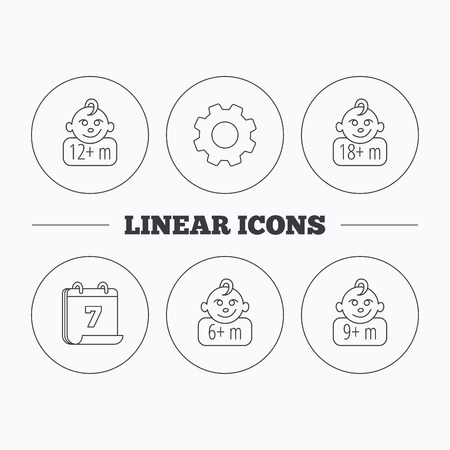 6 9 months: Infant child and toddler baby icons. 6-18 months child linear sign. Flat cogwheel and calendar symbols. Linear icons in circle buttons. Vector