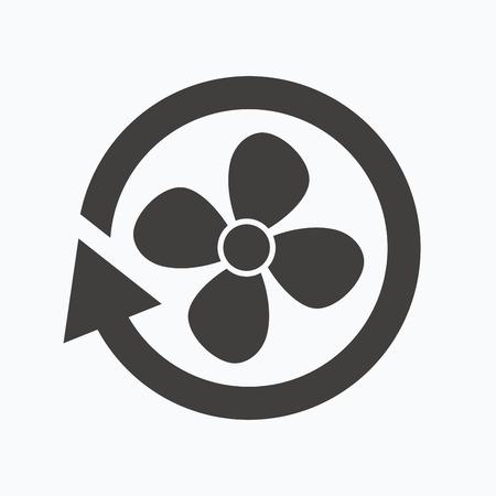 Lüftung-Symbol. Air Ventilator oder Lüfter-Symbol. Grau flache Web-Symbol auf weißem Hintergrund. Vektor