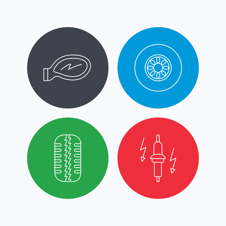 tread: Wheel, car mirror and spark plug icons. Tire tread linear sign. Linear icons on colored buttons. Flat web symbols. Vector