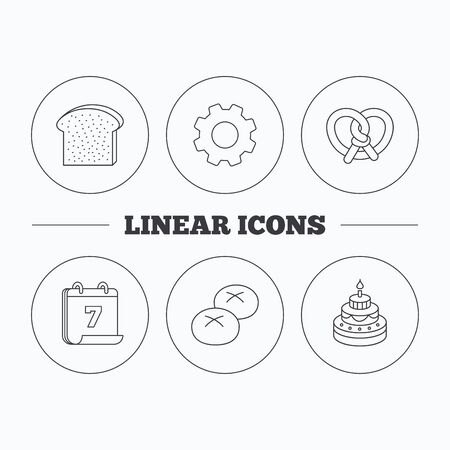 bread rolls: Cake, pretzel and bread rolls icons. Toast linear sign. Flat cogwheel and calendar symbols. Linear icons in circle buttons. Vector