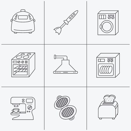 coffee blender: Dishwasher, washing machine and blender icons. Kitchen hood, coffee maker and toaster linear signs. Oven, multicooker and waffle-iron icons. Linear icons on white background. Vector