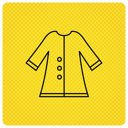 outerwear: Cloak icon. Protection jacket outerwear sign. Gardening clothes symbol. Linear icon on orange background. Vector Illustration
