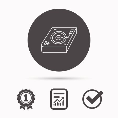 mixing: Club music icon. DJ track mixer sign. Vinyl mixing symbol. Report document, winner award and tick. Round circle button with icon. Vector