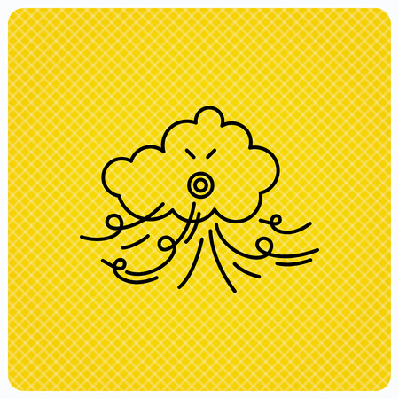 the tempest: Wind icon. Cloud with storm sign. Strong wind or tempest symbol. Linear icon on orange background. Vector Illustration