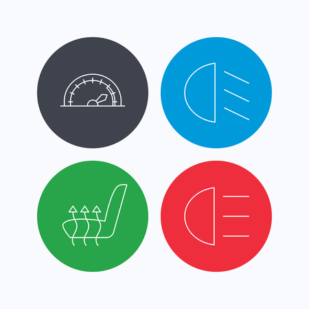 heated: Speedometer, passing fog lights and heated seat icons. High beams linear sign. Linear icons on colored buttons. Flat web symbols. Vector
