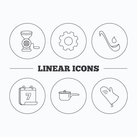 meat soup: Soup ladle, potholder and kitchen utensils icons. Meat grinder and saucepan linear signs. Flat cogwheel and calendar symbols. Linear icons in circle buttons. Vector
