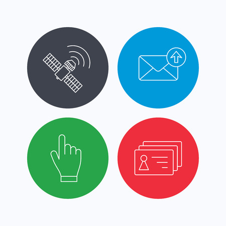 outbox: Hand pointer, contacts and gps satellite icons. Outbox mail linear sign. Linear icons on colored buttons. Flat web symbols. Vector