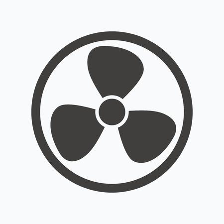 Ventilation icon. Air ventilator or fan symbol. Gray flat web icon on white background. Vector