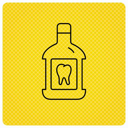 mouthwash: icono de enjuague bucal. Oral signo de líquido antibacteriano. icono lineal sobre fondo naranja. Vector Vectores