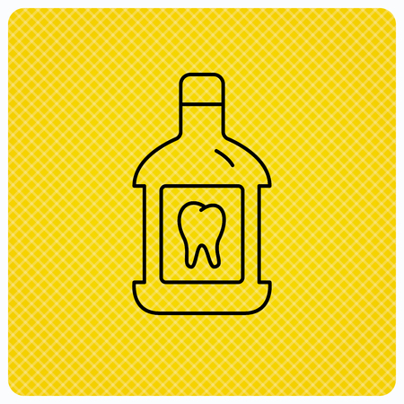 mouthwash: Mouthwash icon. Oral antibacterial liquid sign. Linear icon on orange background. Vector Illustration