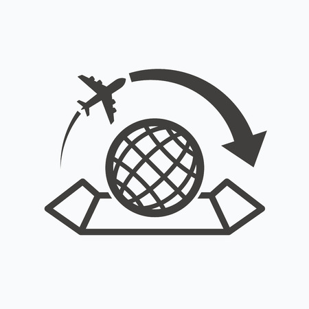 World map icon globe with arrow sign plane travel symbol world map icon globe with arrow sign plane travel symbol gray flat web gumiabroncs Images