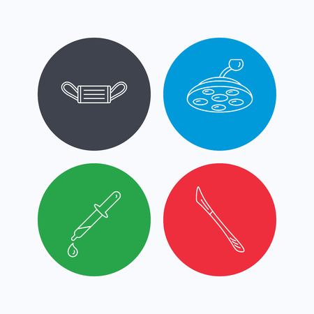 surgical mask: Medical mask, scalpel and pipette icons. Surgical lamp linear sign. Linear icons on colored buttons. Flat web symbols. Vector