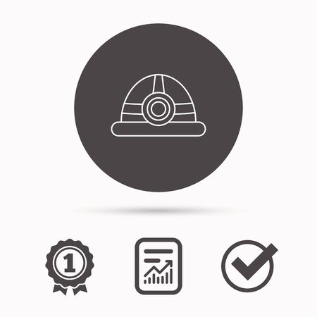 industrialist: Engineering icon. Engineer or worker helmet sign. Report document, winner award and tick. Round circle button with icon. Vector
