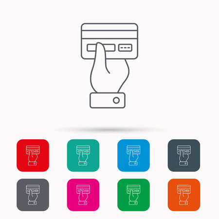 paying: Credit card icon. Giving hand sign. Cashless paying or buying symbol. Linear icons in squares on white background. Flat web symbols. Vector