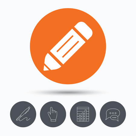 edit icon: Edit icon. Pencil for drawing symbol. Speech bubbles. Pen, hand click and chart. Orange circle button with icon. Vector