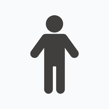 Man icon. Male human symbol. User sign. Gray flat web icon on white background. Vector
