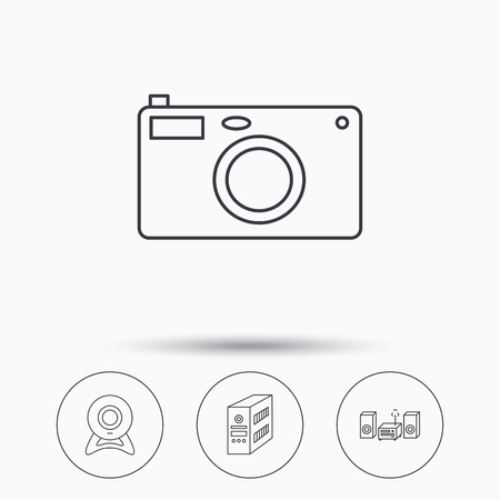 pc case: Photo camera, pc case and music center icons. Web camera linear sign. Linear icons in circle buttons. Flat web symbols. Vector