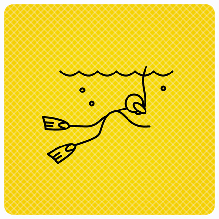 Diving icon. Swimming underwater with tube sign. Scuba diving symbol. Linear icon on orange background. Vector