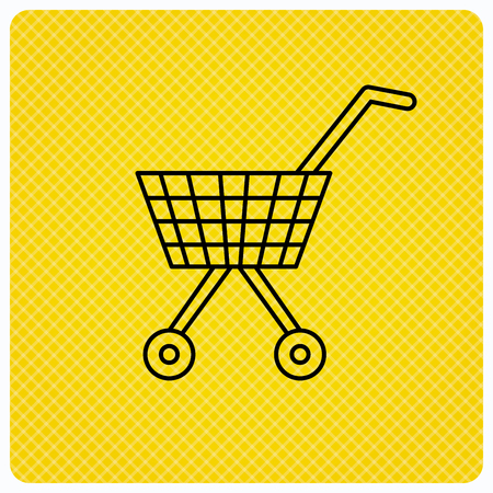 affiliation: Shopping cart icon. Market buying sign. Linear icon on orange background. Vector
