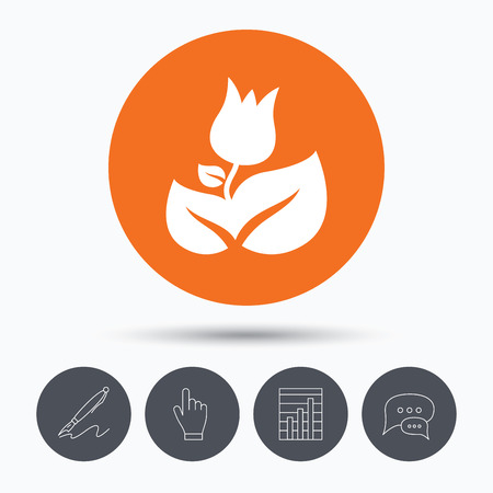 florist: Rose flower icon. Florist plant with leaf symbol. Speech bubbles. Pen, hand click and chart. Orange circle button with icon. Vector