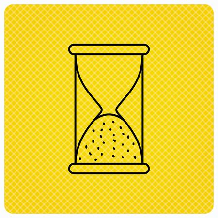 icono de reloj de arena. arena fin señal de tiempo. Hora termina símbolo. icono lineal sobre fondo naranja. Vector Ilustración de vector