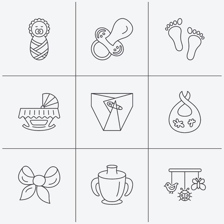 toy chest: Pacifier, newborn and baby toys icons. Footprint, diapers and cradle bed linear signs. Mug, dirty bib flat line icons. Linear icons on white background. Vector