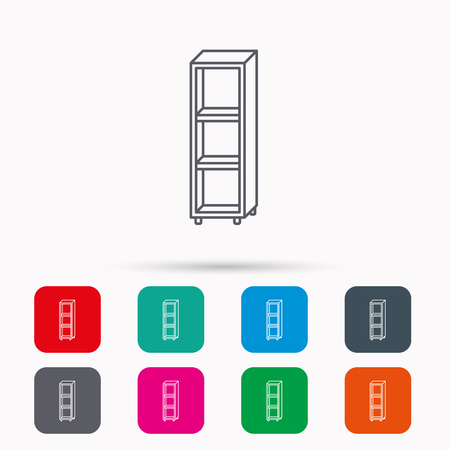 shelving: Empty shelves icon. Shelving sign. Linear icons in squares on white background. Flat web symbols. Vector