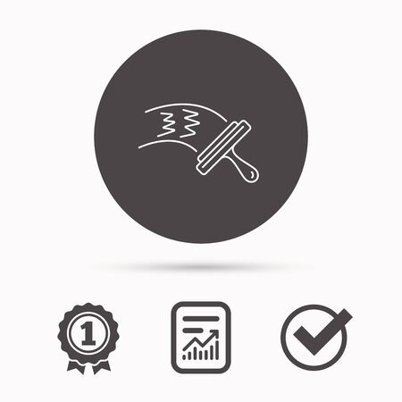 washing windows: Washing windows icon. Cleaning sign. Report document, winner award and tick. Round circle button with icon. Vector