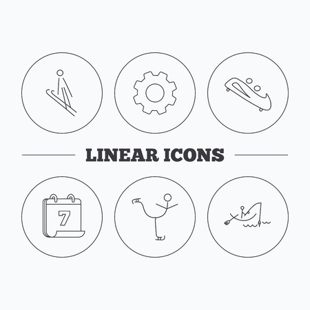bobsled: Fishing, figure skating and bobsled icons. Ski jumping linear sign. Flat cogwheel and calendar symbols. Linear icons in circle buttons. Vector