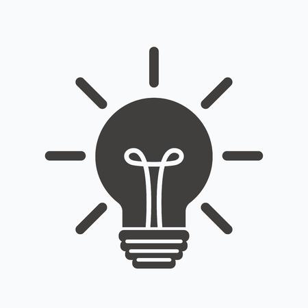 gray bulb: Light bulb icon. Lamp sign. Illumination technology symbol. Gray flat web icon on white background. Vector