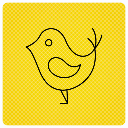beak: Bird with beak icon. Cute small fowl symbol. Social media concept sign. Linear icon on orange background. Vector