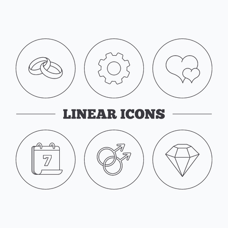 heart diamond: Love heart, diamond and wedding rings icons. Gay love linear sign. Flat cogwheel and calendar symbols. Linear icons in circle buttons. Vector Illustration