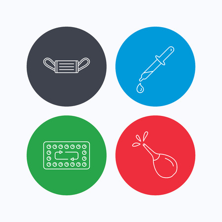 contraception: Medical mask, contraception and pipette icons. Clyster linear sign. Linear icons on colored buttons. Flat web symbols. Vector