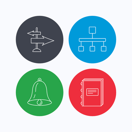 hierarchy: Book, hierarchy and direction arrows icons. Alarm bell linear sign. Linear icons on colored buttons. Flat web symbols. Vector Illustration