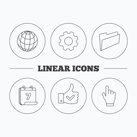 admire: Folder, press hand and world globe icons. Social network linear sign. Flat cogwheel and calendar symbols. Linear icons in circle buttons. Vector Illustration