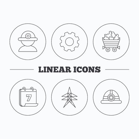 searcher: Worker, minerals and engineering helm icons. Electricity station linear sign. Flat cogwheel and calendar symbols. Linear icons in circle buttons. Vector
