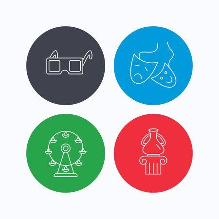mascaras de teatro: Museo, noria y máscaras de teatro iconos. 3d vasos signo lineal. iconos lineales en los botones de colores. símbolos web planas. Vector
