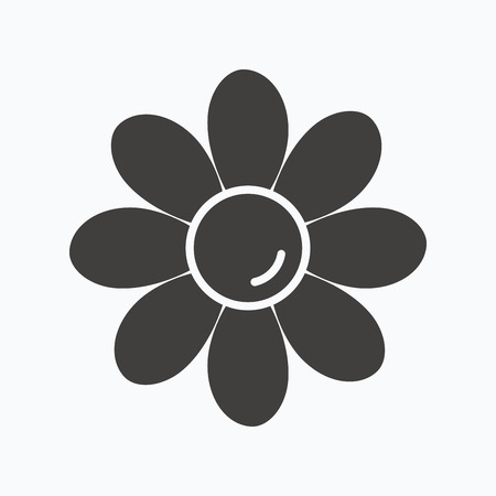 florist: Flower icon. Florist plant with petals symbol. Gray flat web icon on white background. Vector Illustration
