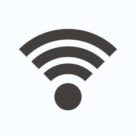 wireless communication: Wifi icon. Wireless internet sign. Communication technology symbol. Gray flat web icon on white background. Vector