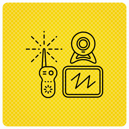 nanny: Baby monitor icon. Video nanny for newborn sign. Radio set with camera and tv symbol. Linear icon on orange background. Vector