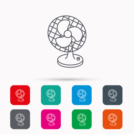 ventilator: Ventilator icon. Fan or propeller sign. Linear icons in squares on white background. Flat web symbols. Vector Illustration