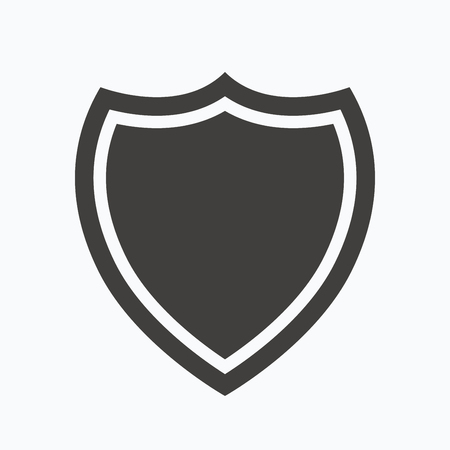 honour guard: Shield protection icon. Defense equipment symbol. Gray flat web icon on white background. Vector