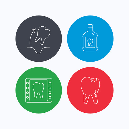 paradontosis: Tooth extraction, caries and mouthwash icons. Dental x-ray linear sign. Linear icons on colored buttons. Flat web symbols. Vector Illustration