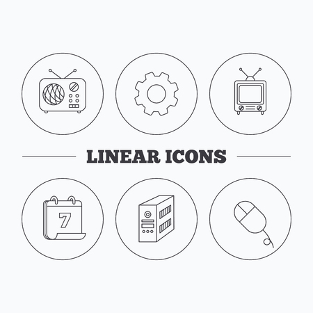 pc case: Radio, retro TV and PC mouse icons. PC case linear sign. Flat cogwheel and calendar symbols. Linear icons in circle buttons. Vector Illustration