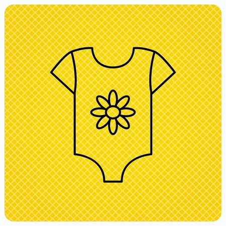 Newborn clothes icon. Baby shirt wear sign. Flower symbol. Linear icon on orange background. Vector