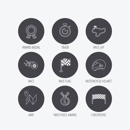 race winner: Race flag and speed icons. Winner medal, motorcycle helmet and timer linear signs. Map navigation flat line icons. Linear icons in circle buttons. Flat web symbols. Vector Illustration
