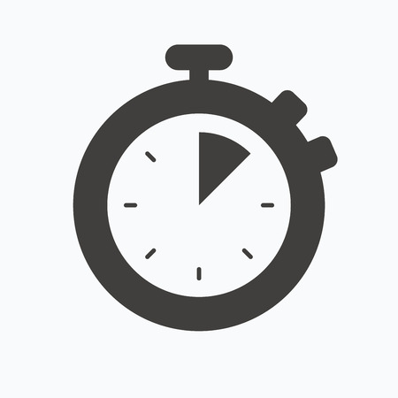 Stopwatch icon. Timer or clock device symbol. Gray flat web icon on white background. Vector Illustration