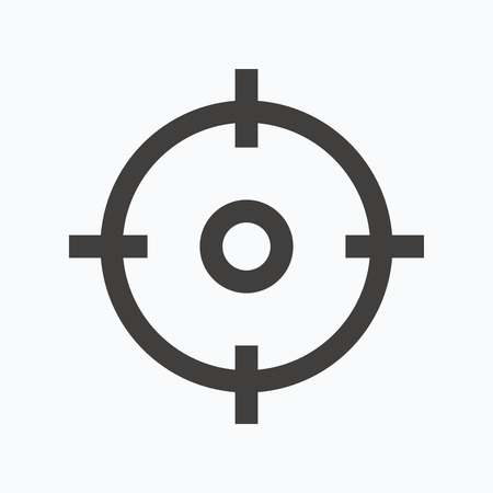 Target icon. Crosshair aim symbol. Gray flat web icon on white background. Vector