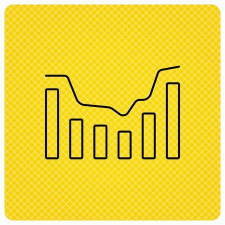 infochart: Dynamics icon. Statistic chart sign. Growth infochart symbol. Linear icon on orange background. Vector Illustration
