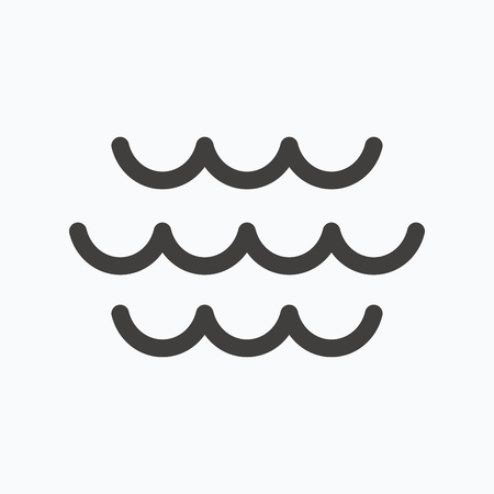 water stream: Wave icon. Water stream symbol. Gray flat web icon on white background. Vector